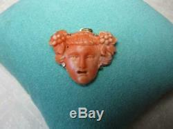 Coral Bacchus Dionysus Pendant Victorian 14 Karat Gold Hand Carved