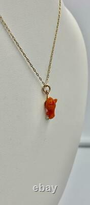 Coral Horse Pendant Charm Victorian Gold Hand Carved Equestrian Riding Racing
