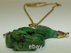 Delightful, Antique Victorian 9 Ct Gold Carved Jade Duck Pendant Necklace
