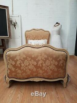 Delightful Vintage French Carved Frame Gold Damask Single Bed