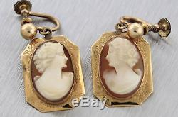 Elegant Vintage Victorian Edwardian 14K Yellow Gold Hand-Carved Cameo Earrings