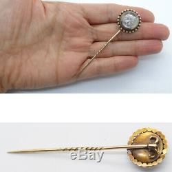 Essex Crystal Stick Pin Cat Antique Victorian Reverse Carved 14k Gold (5993)