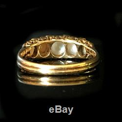 Exquisite Victorian 18ct, 750 Gold Pearl & Rose-cut Diamond carved hoop ring