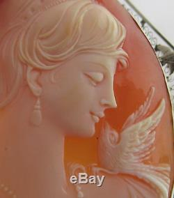 FABULOUS! Victorian HUGE 14K Gold Lady&Bird Carved Shell Cameo Pin Brooch