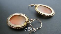 FINE ANTIQUE VICTORIAN OVAL CARVED SHELL CAMEO 9ct GOLD EARRINGS LADIES HEADS