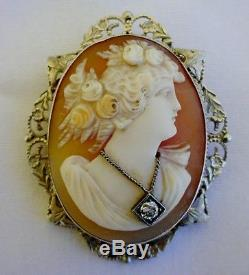 FINE VICTORIAN CARVED CAMEO PIN LADY WEARING A DIAMOND NECKLACE 14k GOLD LOVELY