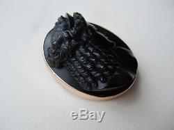 Fine Antique 19thC Victorian 9ct Gold Whitby Jet Carved Cameo Brooch John Speedy
