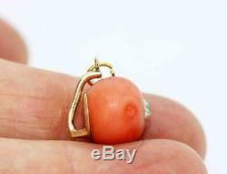 Fine Antique Victorian 18ct Gold Carved Coral & Old Cut Diamond Pendant Charm