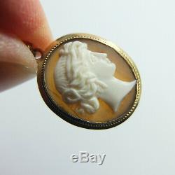 Fine Antique Victorian 9ct Rose Gold Carved Shell Cameo Earrings Pierced Ears