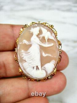 Fine Antique Victorian Carved Shell Cameo 10k Yellow Gold Seed Pearl Brooch Pin