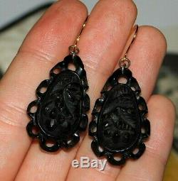 Fine, Antique, Victorian Carved Whitby Jet Earrings With 9ct 375 Gold Hooks