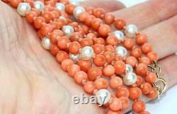 Fine Antique Victorian Double Strand Carved Coral Bead Necklace w 9ct Gold Clasp
