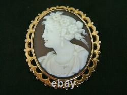 Fine Large Antique Victorian Hand Carved Shell Cameo & Gold Brooch Pin