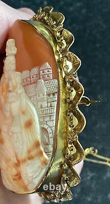 Fine Large Victorian 9ct Gold Carved Shell Cameo Brooch 7.5cm x 6cm -31gms