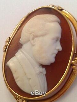 Fine Victorian 15ct Gold Carved Shell Cameo Brooch Circa 1880