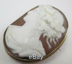 Fine Victorian Antique 15ct Gold Shell Carved Cameo Goddess Brooch Pin