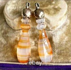 Fine Victorian Carved Hardstone Agate Torpedo Drops 9ct Rose Gold Earrings x2