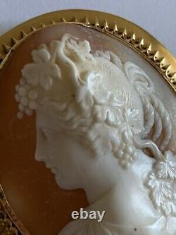 Fine Victorian Gold Plated Carved Shell Cameo Brooch