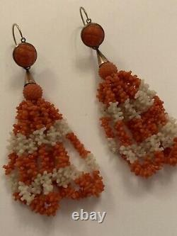 Fine Victorian Pair Of Carved Red & White Coral Bead 9ct Gold Tassel Earrings