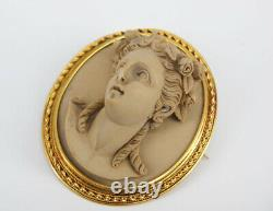 Finest Victorian Grand Tour Carved High Relief LAVA CAMEO Brooch Pin Gold