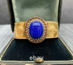 French Victorian 18K Gold Carved Lapis Scarab and Diamond Bangle Bracelet