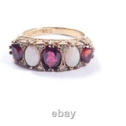 Garnet Opal Ring Vintage 9 carat yellow gold victorian style carved setting