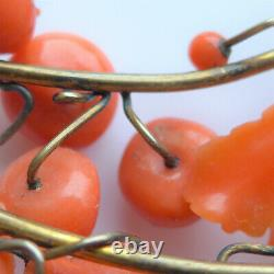 Georgian Victorian CORAL Headress 18ct Gold Plate Carved Apples JAPANESE CHINESE