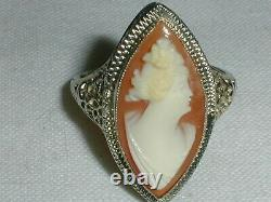 Gorgeous 14k White Gold Victorian High Profile Carved Cameo Ring- Size 5 1/4