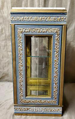 HORCHOW Italy Curio Display Cabinet Vitrine Glass Marble Carved Floral Gold Wood