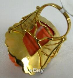 HUGE Victorian Carved Sciacca Coral Maiden Face 18K Yellow Gold Antique Ring