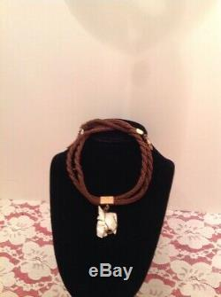 Hand Carved Horse MOP Fob. Braided Hair 10kt Rose Gold victorian vtg