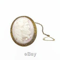 Hand Carved Victorian 14K Gold Angel Skin Angel Coral Mourning Brooch Antique