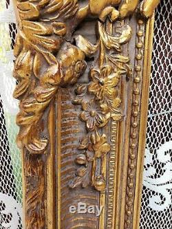 LARGE 34 x 30 c. 1900 Antique Frame CARVED WOOD Gold Gilt FLOWER GESSO DETAILS