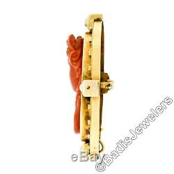 LARGE Antique Victorian 18k Gold GIA NO DYE Carved Coral Cameo Pearl Brooch Pin