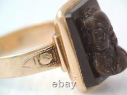 LARGE VICTORIAN MENS SOLID 14K ROSE GOLD CARVED HARD STONE CAMEO RING sz 9 1/2