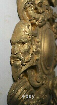 LARGE antique ornate 1800's industrial gilt carved wood electric wall sconce