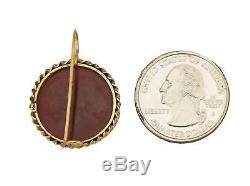 Ladies Antique Victorian 14K Yellow Gold Intaglio Carved Carnelian Earrings