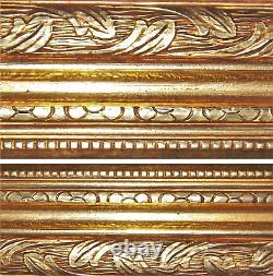 Large 19thC Antique Carved Gold Gilt Wood Deep Frame Fine Art 16x30 Oil Painting
