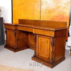 Large Antique Reverse Breakfront Oak Sideboard Console Desk Carved Golden Oak