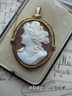 Large Antique Victorian Carved Shell Portrait Cameo 9ct Gold Brooch Pendant