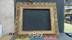 Large Antique Victorian English Carved Wood Ornate Gold Gilt Picture Frame