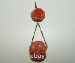 Large, Exceptional, Antique Victorian 14 Ct Gold Carved Coral Lavalier Pendant