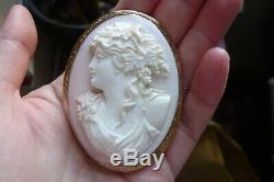 Large Victorian Carved Bacchus Pink Conch Shell and 9 Carat Rose Gold Brooch