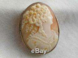 Late Victorian 10k white gold & beautifully carved shell cameo 1 7/8 pin