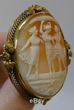 Late Victorian 14k Gold Large Three Graces Carved Shell Cameo Brooch / Pendant
