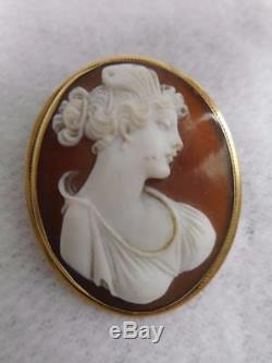 Late Victorian 14k Yellow Gold Framed Carved Hardstone Cameo 1 1/2 Pin Pendant
