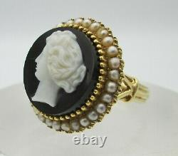 Late Victorian 14k Yellow Gold, Seed Pearls, Onyx & Carved Shell Cameo Ring