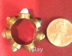 Late Victorian Low K gold Hand Carved 7 Angel Faces Lava Stone Cameo Ring Sz. 5