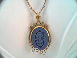 Lg Victorian Solid 18k Gold Bloodstone Carved Initial C Locket Pendant Necklace