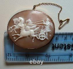 Lge Victorian Carved Shell Cameo Phaeton Chariot Horses In Later 9ct Gold Mount